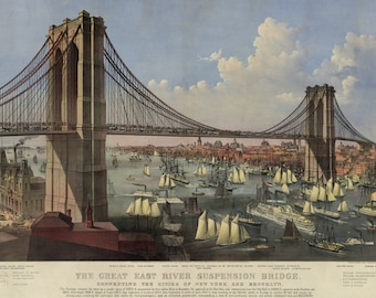 Brooklyn Bridge Vintage Currier and Ives Wall Art - New York East River Suspension Bridge - Antique NYC History Gift - Old Maps and Prints