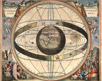 Celestial and Zodiac Chart - Map of the Universe - Cosmography - Astronomy Astrology - Magicians Chart - Old Maps and Prints