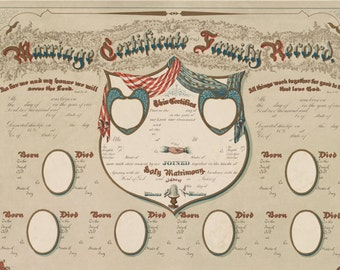 Vintage Marriage Certificate and Family Record - Family Tree - Geneology - Victorian Antique Art Print - 1800's Americana - Gift for Wedding