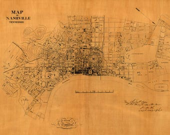 Old Civil War Map of Nashville Tennessee - Americana - Music City Wall Decor