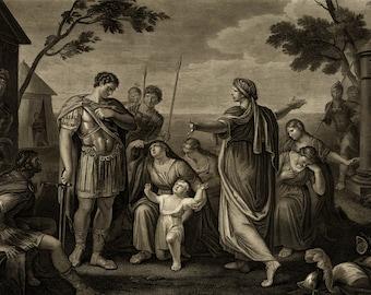 Shakespeare - Coriolanus Act V Scene III - Shakespearean Poster - Vintage Art Print - Antique Decor - Engraving Print - Literature Gift Idea