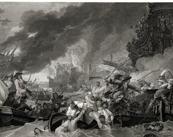 Battle at La Hogue Vintage Art Print - History Gift - Maritime Decor - Nautical Print - English Historic Sea Battle - Old Maps and Prints