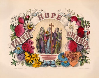 Faith Hope Charity Vintage Art Print - Virtues and Spirituality - Victorian Religious Art - Old Maps and Prints