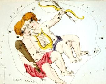 Gemini Vintage Zodiac Astrological Art Print - Astronomy Astrology Horoscope Art - Celestial Constellation Chart - Old Maps and Prints