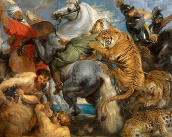 Tiger Lion and Leopard Hunt Vintage Art Print - Peter Paul Rubens - Masculine Wall Decor - Cool Gift Ideas for Men - Old Maps and Prints