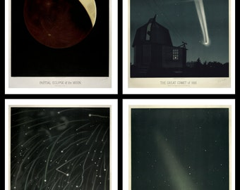 FRAMED Trouvelot Astronomical Drawings Set of 4 Prints