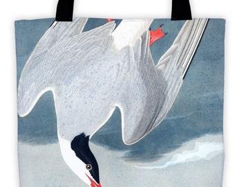 Art Print Tote Bag - Audubon Arctic Tern Antique Bird Print - Large Market Tote - Reusable Grocery Bag - Vintage Carry All Beach Bag