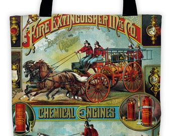 Art Print Tote Bag - Antique Fire Fighter Advertisement Print - Large Market Tote - Reusable Grocery Bag - Vintage Carry All Beach Bag