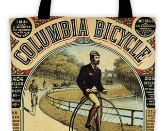 Art Print Tote Bag - Antique Columbia Bicycle Advertisement Print - Large Market Tote - Reusable Grocery Bag - Vintage Carry All Beach Bag