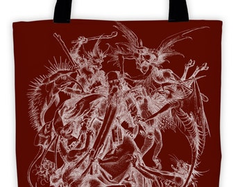 Art Print Tote Bag - Torment of St Anthony - Antique Religious - Large Market Tote - Demons Grocery Bag - Vintage Carry All Beach Bag