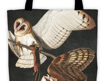 Art Print Tote Bag - Audubon Barn Owl Antique Bird Print - Large Market Tote - Reusable Grocery Bag - Vintage Carry All Beach Bag
