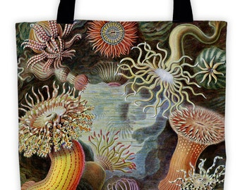 Art Print Tote Bag - Antique Haeckel Sea Anenome Actiniae Print - Large Market Tote - Reusable Grocery Bag - Vintage Carry All Beach Bag