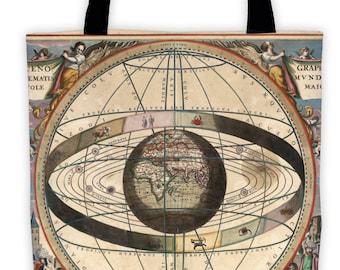 Art Print Tote Bag - Celarius Celestial Antique Zodiac Print - Large Market Tote - Reusable Grocery Bag - Vintage Carry All Beach Bag