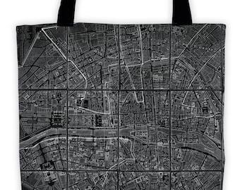 Art Print Tote Bag - Black Antique Chez Jean Map of Paris Print - Large Market Tote - Reusable Grocery Bag - Vintage Carry All Beach Bag