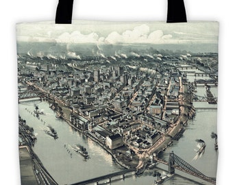 Art Print Tote Bag - Panoramic Map of Pittsburgh 1902 Antique Market Tote - Old Maps and Prints - Reusable Grocery Bag - Carry All Beach Bag