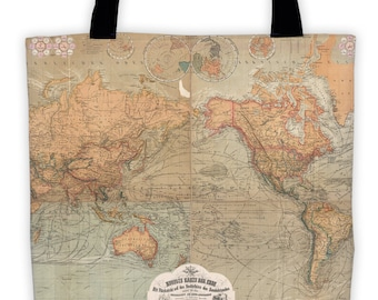 Art Print Tote Bag - Baur Map of the World - Antique German World Map - Large Market Tote - Reusable Grocery Bag - Carry All Beach Bag