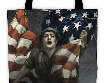 Art Print Tote Bag - Antique WWI Liberty Bonds - Patriotic Large Market Tote - Reusable Grocery Bag - Vintage Carry All Beach Bag