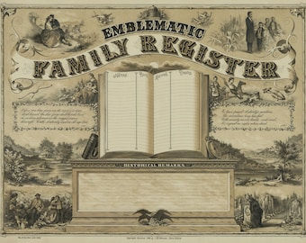 Emblematic Family Register Vintage Art Print - Family Tree - Geneology - Victorian Antique Document - 1800's Americana - Gift for Parents