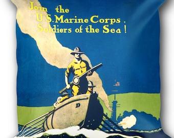 US Marine Corps Decorative Pillow - Vintage Marines Art Print on Throw Pillow