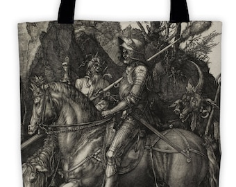 Art Print Tote Bag - Antique Religious Knight Death and the Devil - Large Market Tote - Reusable Grocery Bag - Vintage Carry All Beach Bag