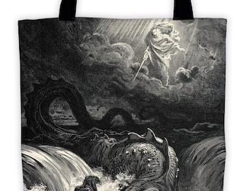 Art Print Tote Bag - Antique Religious Destruction of Leviathan - Large Market Tote - Reusable Grocery Bag - Vintage Carry All Beach Bag