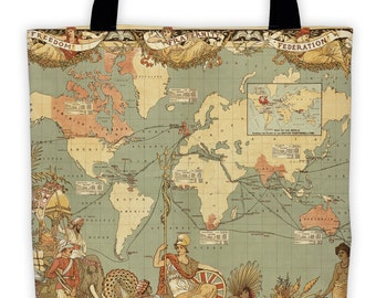 Art Print Tote Bag - British Empire Map of the World - Antique World Map - Large Market Tote - Reusable Grocery Bag - Carry All Beach Bag