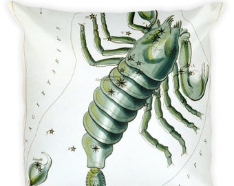 Decorative Throw Pillow - Scorpio Sign - Home Decor Accent Pillows - Vintage Zodiac Art - Celestial Decor - Antique Constellation Print