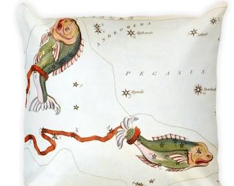 Decorative Throw Pillow - Pisces Sign - Home Decor Accent Pillows - Vintage Zodiac Art - Celestial Decor - Antique Constellation Print