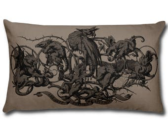Decorative Pillow - Seven Deadly Sins Art Print Throw Pillow - Home Decor Accent Pillows - Demon Gargoyle - Grotesque Faces and Creatures