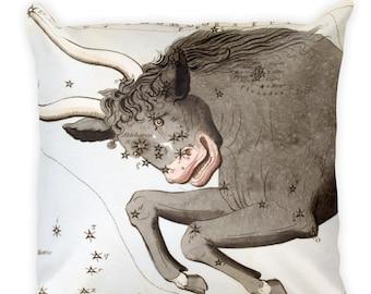 Decorative Throw Pillow - Taurus Sign - Home Decor Accent Pillows - Vintage Zodiac Art - Celestial Decor - Antique Constellation Print