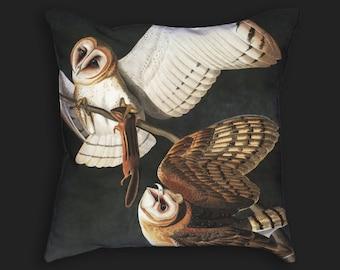 Decorative Pillow - Audubon Barn Owl Antique Print Throw Pillow - Home Decor Accent Pillows - Vintage Avian Bird Art - Ornithology Study Art