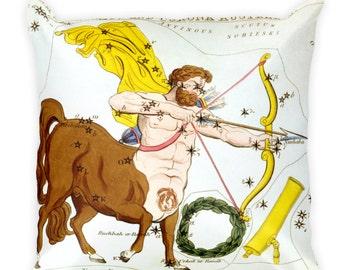 Decorative Throw Pillow - Sagittarius Sign - Home Decor Accent Pillows - Vintage Zodiac Art - Celestial Decor - Antique Constellation Print