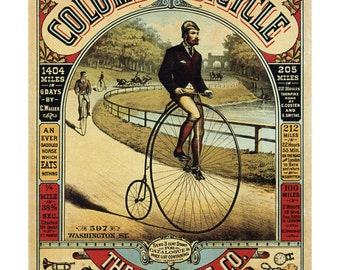 Columbia Bicycle Advertisement - Antique Bike Ad Poster - Old Maps and Prints - Vintage Wall Art - Cycling Decor - Bicycle Art - Bike Print
