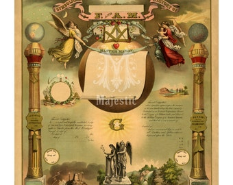 Masonic Register and Symbolical History of F and A M - Vintage Freemason Art Print - Antique Master Mason - Americana - Secret Society