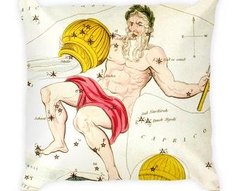 Decorative Throw Pillow - Aquarius Sign - Home Decor Accent Pillows - Vintage Zodiac Art - Celestial Decor - Antique Constellation Print