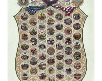 Arms of the States and Territories of the American Union - Vintage Art Print - Victorian Antique - Historic Art - Patriotic Paper Ephemera