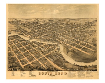 1874 Map of South Bend Indiana - Old Maps and Prints - Vintage Wall Art - Antique Birds Eye City Map - Perspective View - Historic Map Art