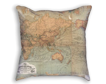 Decorative Pillow - Baur Map of the World Antique Print - Throw Pillow - Beige Decor Accent Pillows - Vintage World Map Art Print on Pillow