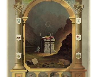 Masonic Chart of Symbols 1872 - Vintage Freemason Art Print - York Rite Mason - Royal Arch - 1800's Americana - Masonic Gift