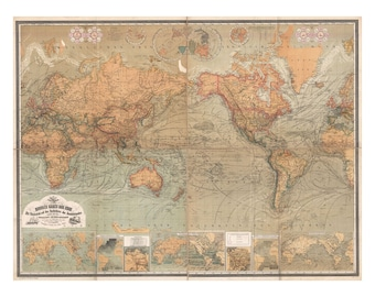 Map of the World - Antique World Map - Vintage Art Print - Wall Decor - Restoration Map - Old Maps and Prints - Art Giclee - German Map