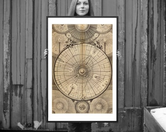 FRAMED Celestial Map of the Universe - Astronomy Art Print - Antique Map - Restoration Style - Old Maps and Prints - Vintage Cool Gift Idea