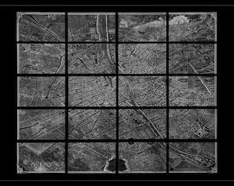Turgot's Plan De Paris in White on Black - Old Map of Paris - Vintage Art Prints - Old Maps and Prints - Antique Paris Decor - Map Art