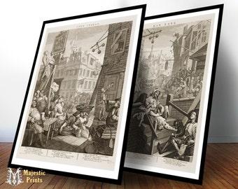 FRAMED Beer Street and Gin Lane Antique Art Print Set - Bar Decor Gifts For Men - Pub Decor - Old Maps and Prints - Set of 2 Framed Prints