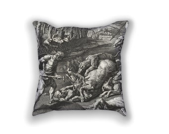 Decorative Pillow - Meleager et Atalanta Antique Print Throw Pillow - Home Decor Accent Pillows - Vintage Hunting Art - Greek Mythology Art
