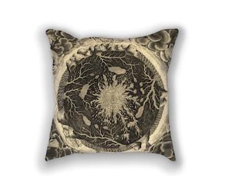 Decorative Pillow - Athanasius Kircher Waters Antique Print - Throw Pillow - Home Decor Accent Pillows - Vintage Geology Art Print on Pillow