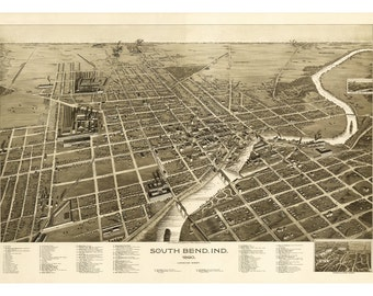 1890 Map of South Bend Indiana - Old Maps and Prints - Vintage Wall Art - Antique Birds Eye City Map - Perspective View - Historic Map Art