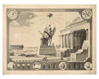 Master Mason Vintage Art Print - Masonic Symbols - Brotherhood - Victorian Antique Masonic Gift - 1800's Americana - Secret Society
