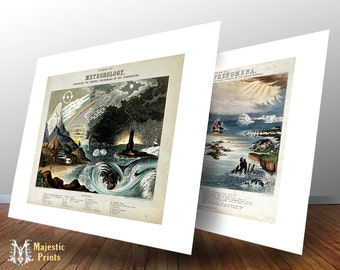 Meteorology and Natural Phenomena Vintage Meteorologic Art Print Set - Antique Geology Set of Prints - Old Maps and Prints - Cool Gift Idea