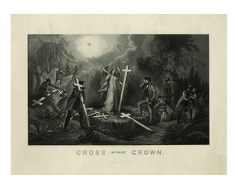 Cross and Crown - Vintage Art Print - Religious Art - Cross - Angel Decor - Old Maps and Prints - Americana - 1869 - 19th century Art
