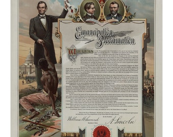 Abraham Lincoln Emancipation Proclamation - Vintage Art Print - Victorian Antique Document - History Poster - Slavery - Paper Ephemera